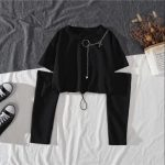Alt Clothes Style Harajuku Set Cargo Pants with chain and Long Sleeve Swaetshirt 3