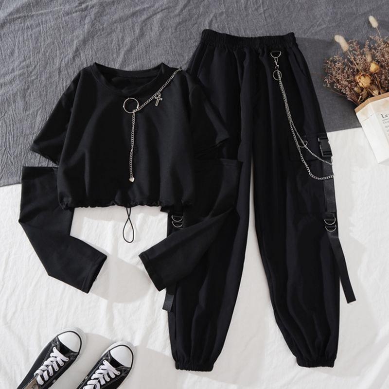 Alt Clothes Style Harajuku Set Cargo Pants and Swaetshirt 42