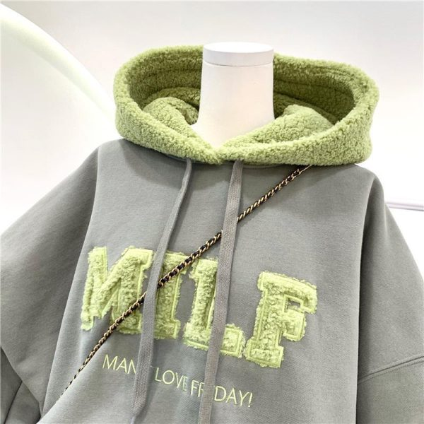 Harajuku E-girl Streetwear Thick Hoodies with Letters 10