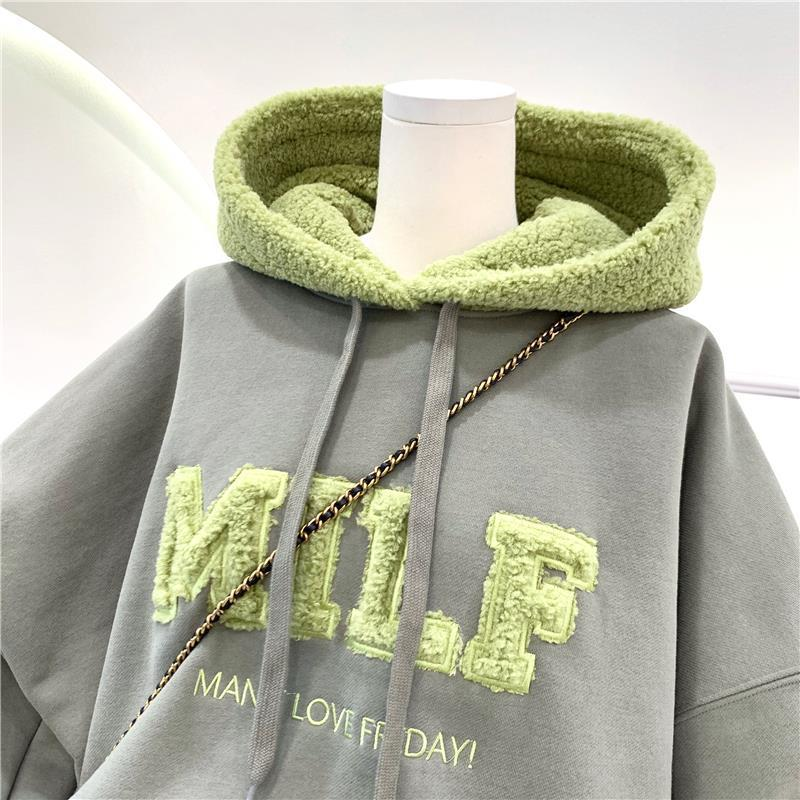 Harajuku E-girl Streetwear Thick Hoodies with Letters 43
