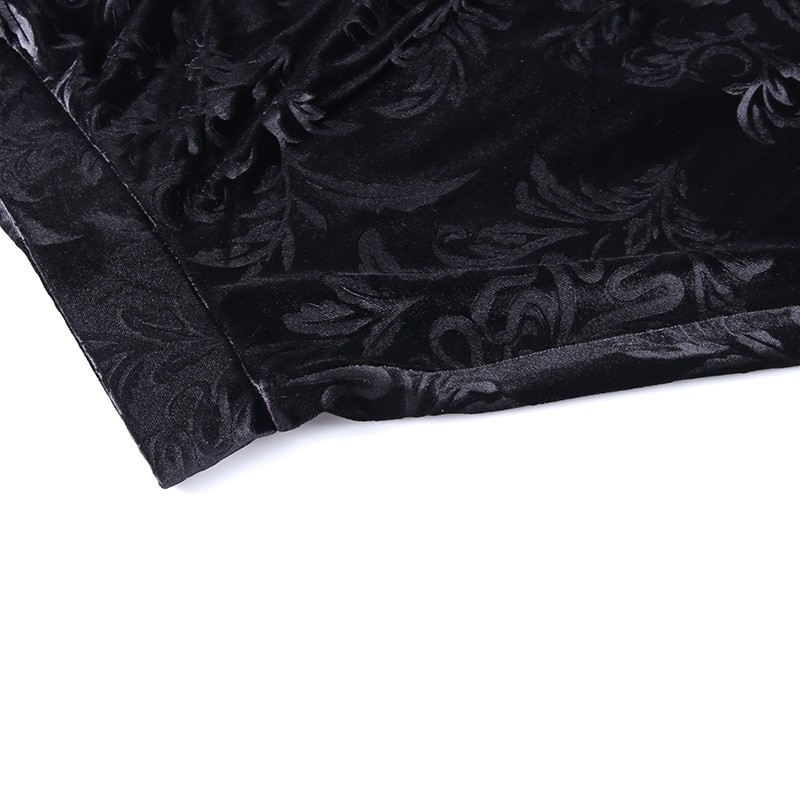 E-girl Pastel Gothic Velvet Skirt with Lace 53
