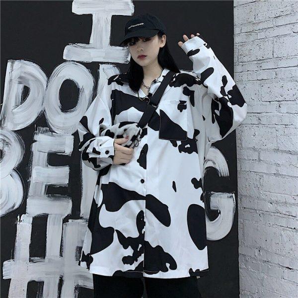 E-girl Harajuku Grunge Cow Print Loose Shirt 3