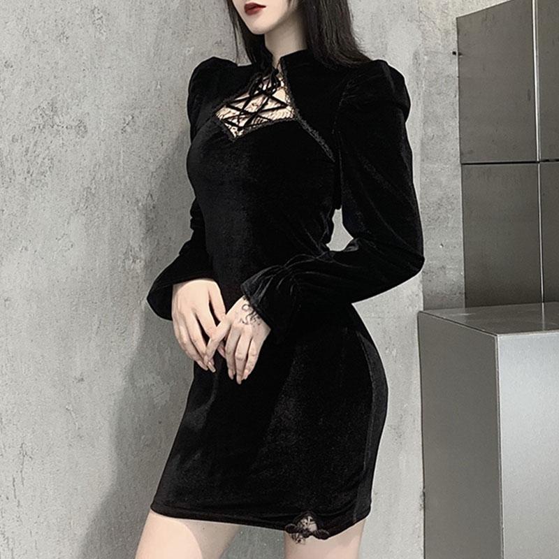 Gothic E-girl Vintage Elegant Black Velvet Dress 45