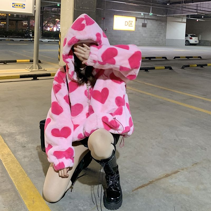 Harajuku Kawaii E-girl Heart Print Plush Jacket 42