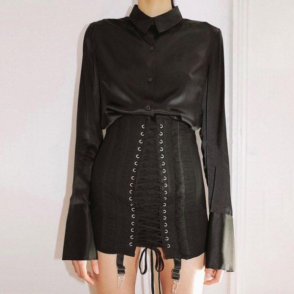 Pastel Gothic E-girl Punk Y2K Mini Lace Up Aesthetic Skirts 1