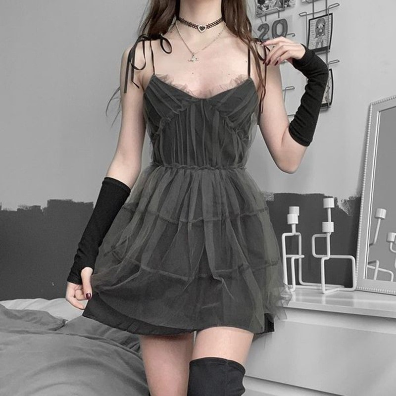 E-girl Pastel Goth Aesthetic Elegant Dress with Mesh 41