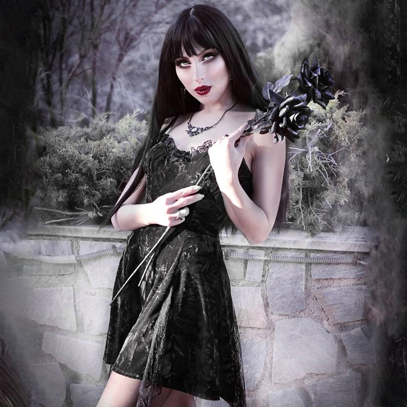 Aesthetic Gothic Egirl Grunge Vintage Velvet Mini Dresses 45