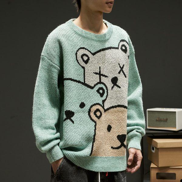 E-boy Harajuku Y2K Cartoon Bear Aesthetic Sweater 2