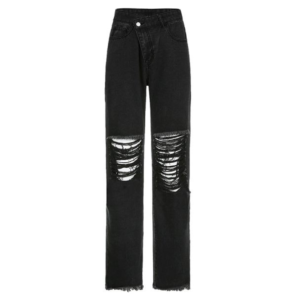 E-girl Punk Grunge Y2K High Waist Jeans with Holes 4