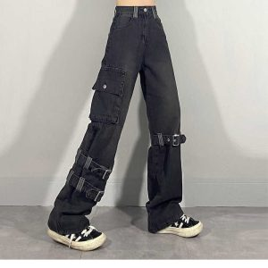 Harajuku Y2K E-girl Loose Jeans with Pocket and straps 8