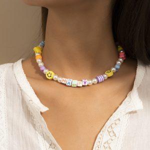 Indie Kid Soft Girl Kawaii Ethnic Imitation Pearl Letters Choker 1