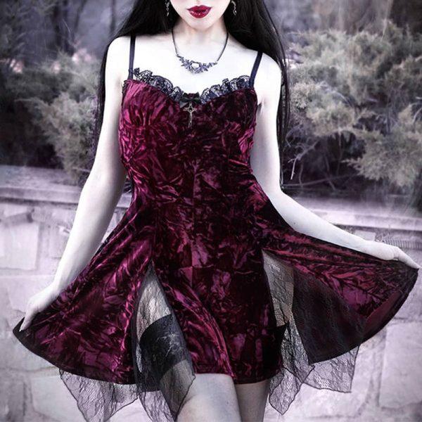 Aesthetic Gothic Egirl Grunge Vintage Velvet Mini Dresses 9