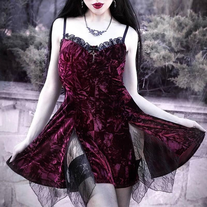 Aesthetic Gothic Egirl Grunge Vintage Velvet Mini Dresses 41