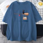 Kawaii E-girl Soft girl Pastel Gothic T-shirt with Cute Cat Not In Service Comics Printing 2