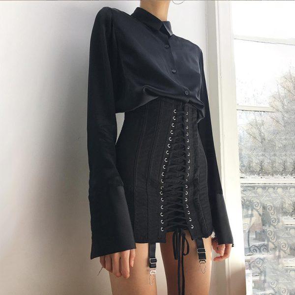 Pastel Gothic E-girl Punk Y2K Mini Lace Up Aesthetic Skirts 9