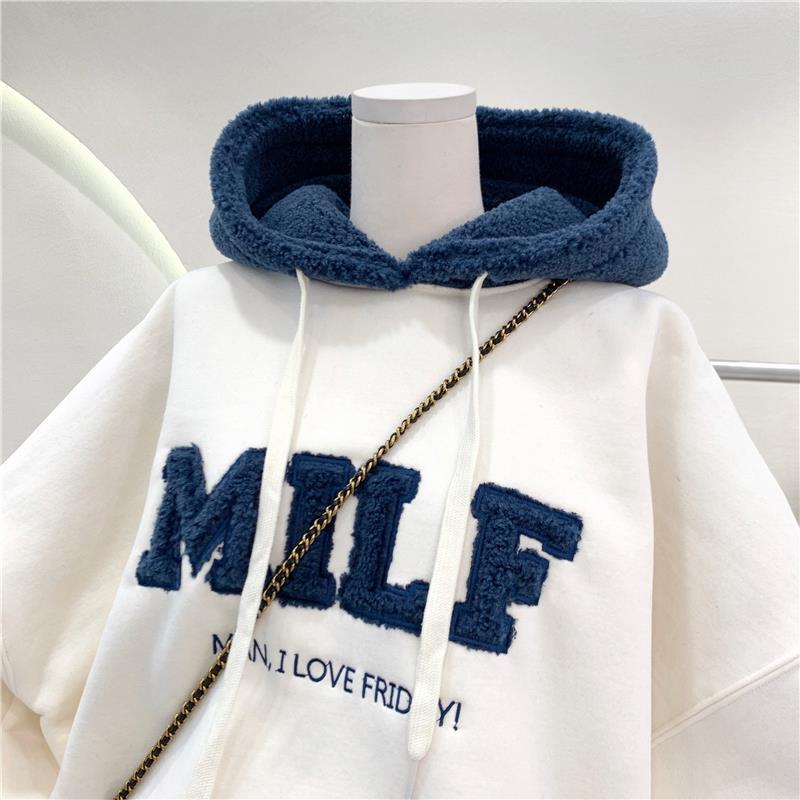 Harajuku E-girl Streetwear Thick Hoodies with Letters 52