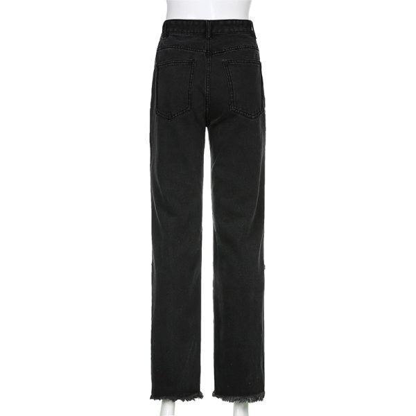 E-girl Punk Grunge Y2K High Waist Jeans with Holes 3