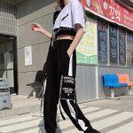Harajuku Alt Clothes E-girl Streetwear 3 Pieces Set Cargo Pants Sweatshirt and Tank Top 1