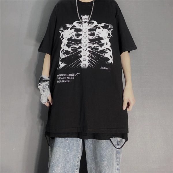 Gothic Punk E-girl Skeleton Print Funny T-shirt 1