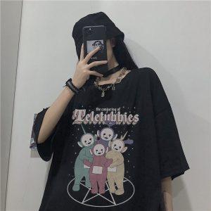 E-girl Gothic Punk Harajuku T-shirt with Goth Teletubbies print 1