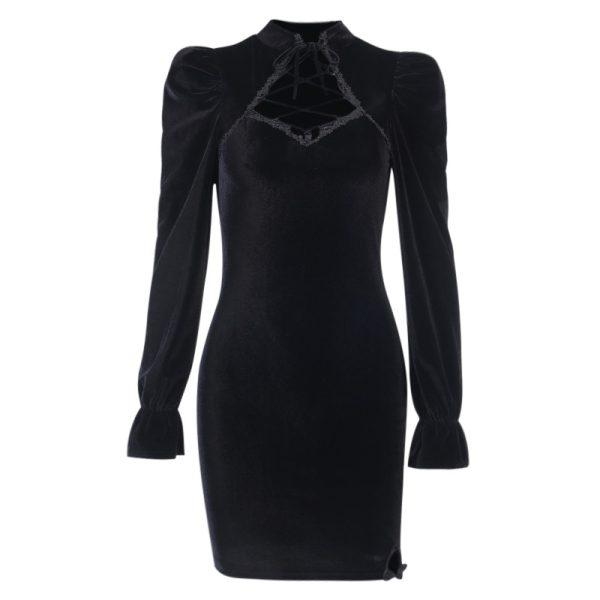 Gothic E-girl Vintage Elegant Black Velvet Dress 5
