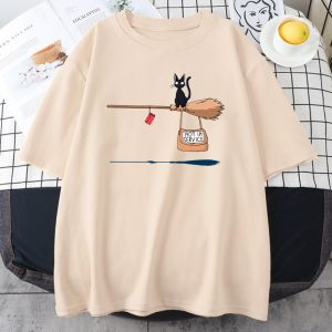 Kawaii E-girl Soft girl Pastel Gothic T-shirt with Cute Cat Not In Service Comics Printing 1