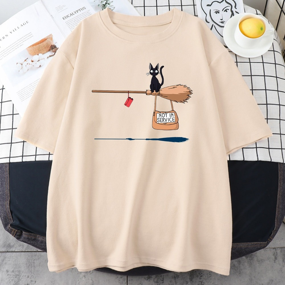 Kawaii E-girl Soft girl Pastel Gothic T-shirt with Cute Cat Not In Service Comics Printing 48
