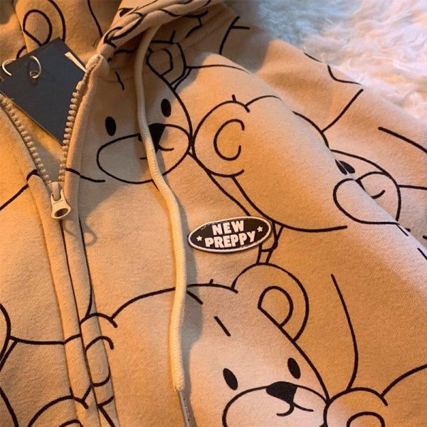 E-girl E-boy Harajuku Hoodie with Lillte bear Cartoon print 4