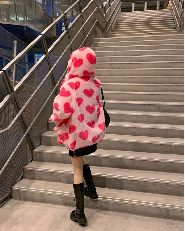 Harajuku Kawaii E-girl Heart Print Plush Jacket 47