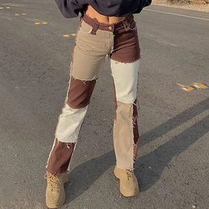 Y2K E-girl Aesthetic Cowboy Patchwork Jeans 1