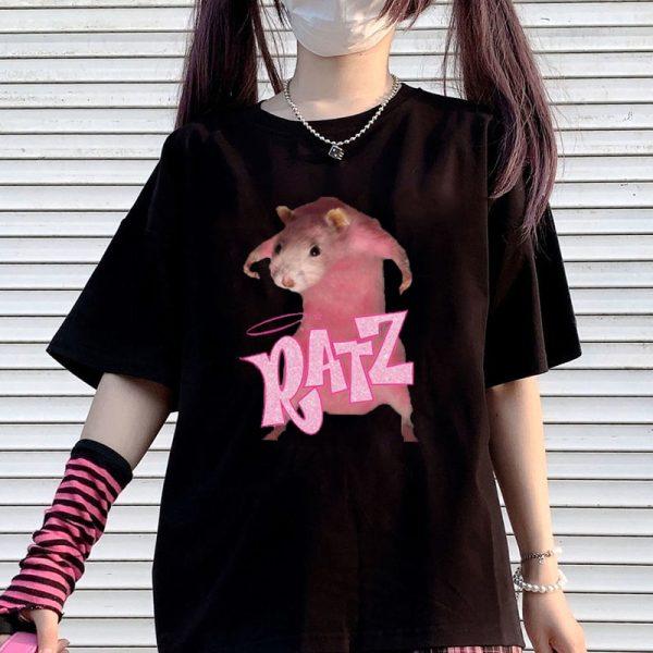E-girl Pastel Gothic Punk Harajuku T-shirts Ratz print 1