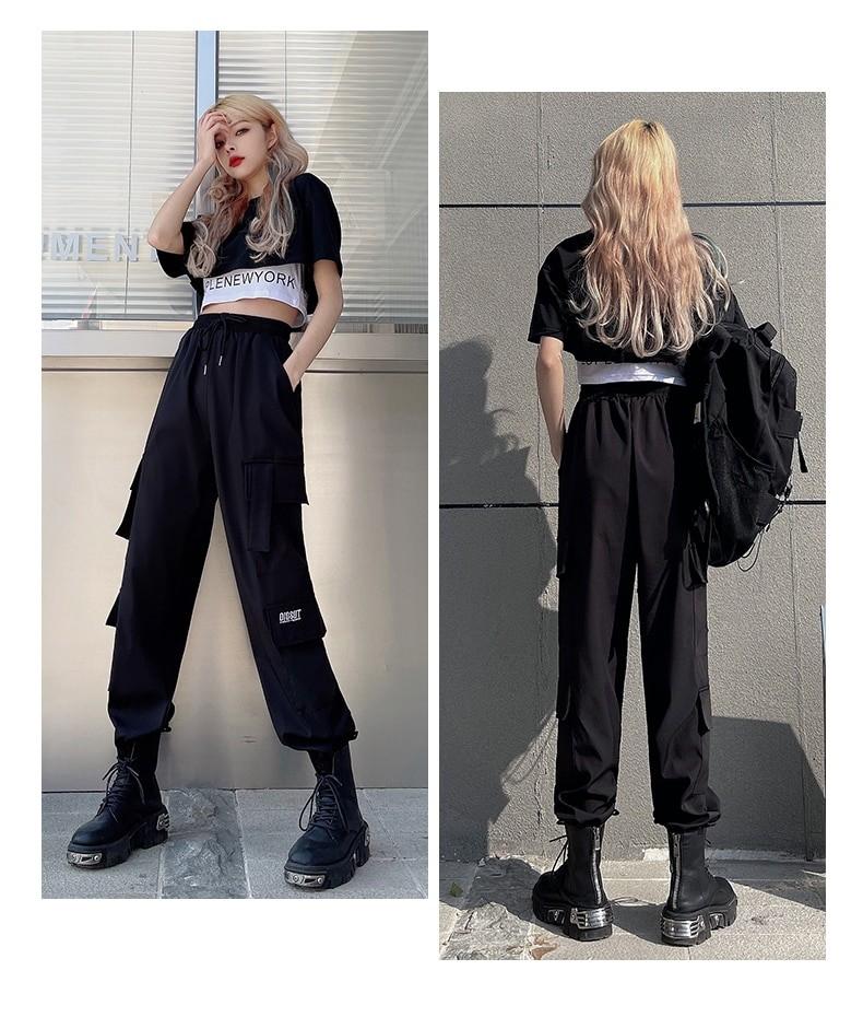 Harajuku E-girl Set Cargo Pants Sweatshirt Tank Top 49
