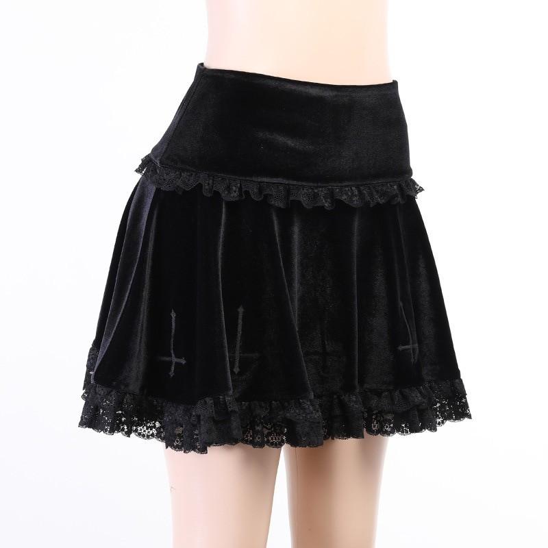 Aesthetic Pastel Gothic E-girl Velvet Mini Skirt with cross embroidery 42
