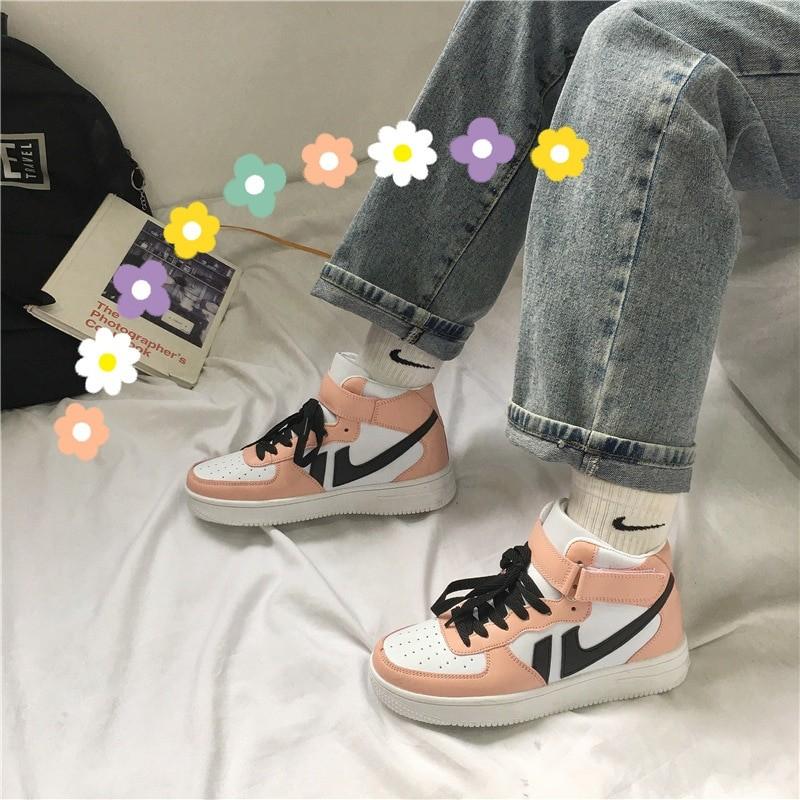 Soft Girl Harajuku Kawaii Aesthetic Autumn Winter High-Top Sneakers 48