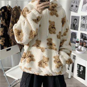 Harajuku Soft girl E-girl E-boy little bear Pattern furry Hoodie 1