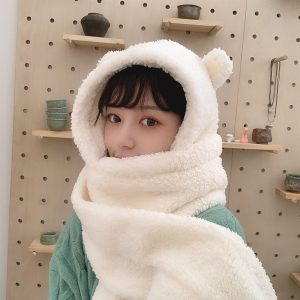Kawaii Soft girl Harajuku Cute Bear Ears Plush Hat with Scarf 1