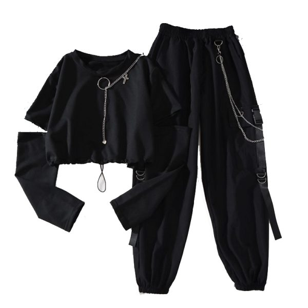 Alt Clothes Style Harajuku Set Cargo Pants with chain and Long Sleeve Swaetshirt 1