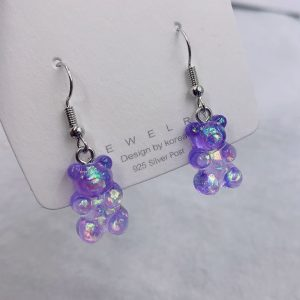 Soft girl E-girl Indie Kid Candy Color Cute Bear Colorful Acrylic Earring 1