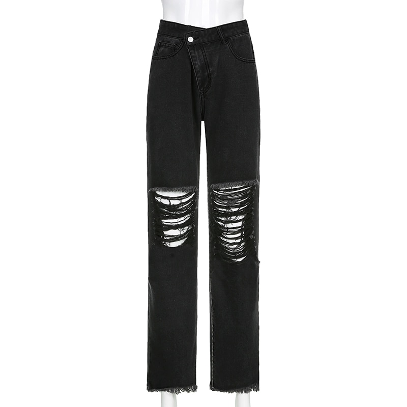 E-girl Punk Grunge Y2K High Waist Jeans with Holes 41