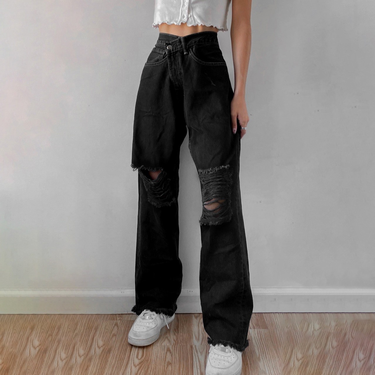 E-girl Punk Grunge Y2K High Waist Jeans with Holes 56