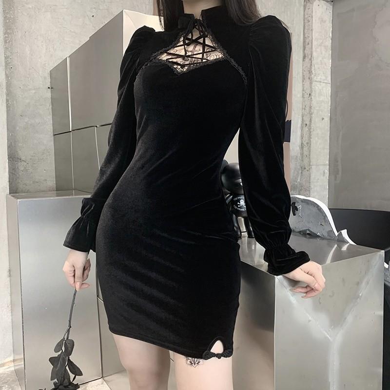 Gothic E-girl Vintage Elegant Black Velvet Dress 41