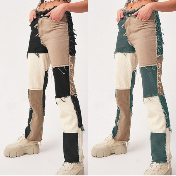 Y2K E-girl Aesthetic Cowboy Patchwork Jeans 4