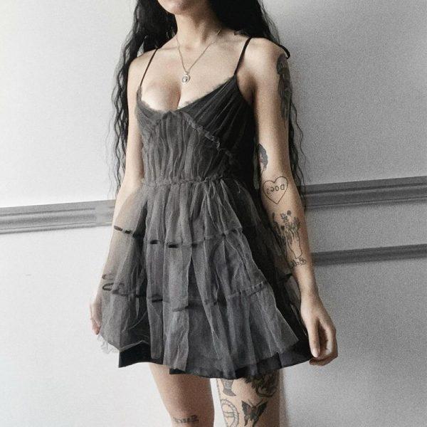 E-girl Pastel Goth Aesthetic Elegant Dress with Mesh 4