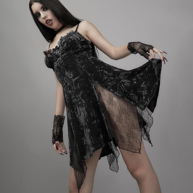 Aesthetic Gothic Egirl Grunge Vintage Velvet Mini Dresses 46