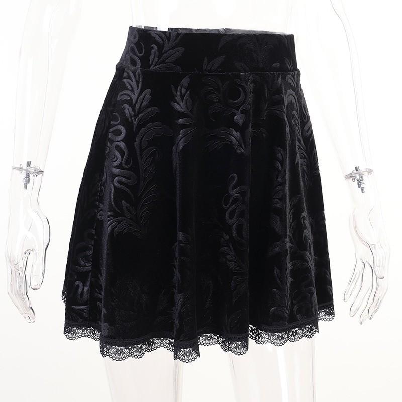 E-girl Pastel Gothic Velvet Skirt with Lace 45