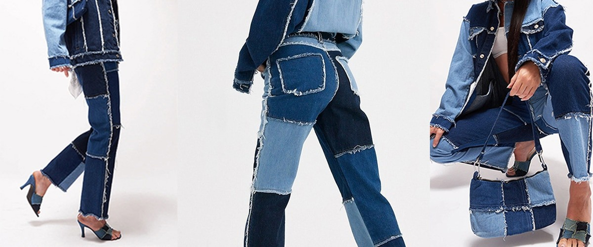 Y2K E-girl Aesthetic Cowboy Patchwork Jeans 44
