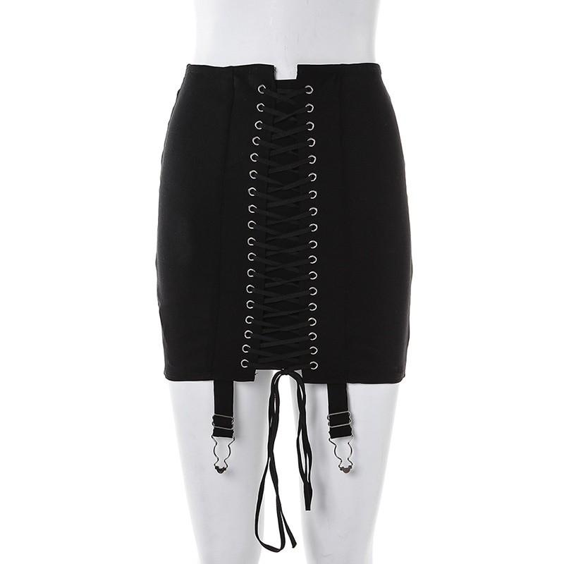 Pastel Gothic E-girl Punk Y2K Mini Lace Up Aesthetic Skirts 49