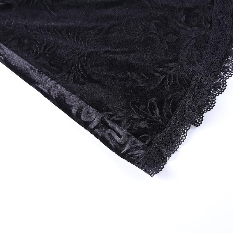 E-girl Pastel Gothic Velvet Skirt with Lace 50