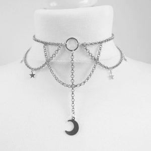 E-girl Gothic Chain Crescent Moon and Stars Choker 1