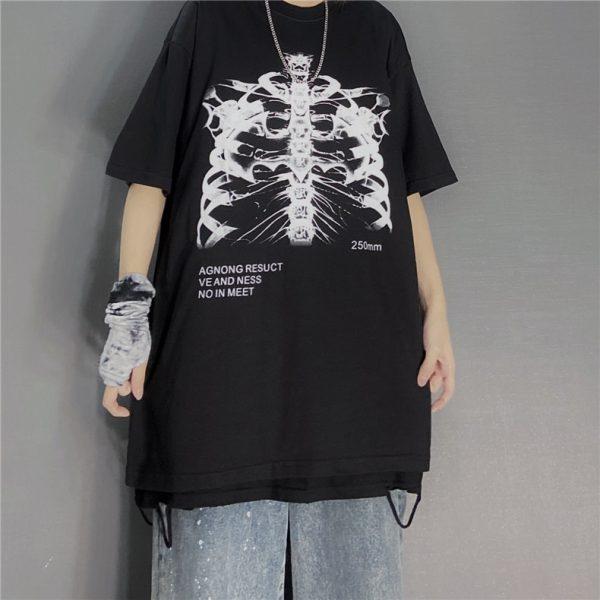 Gothic Punk E-girl Skeleton Print Funny T-shirt 3